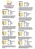 Micro Brew Beer Kits